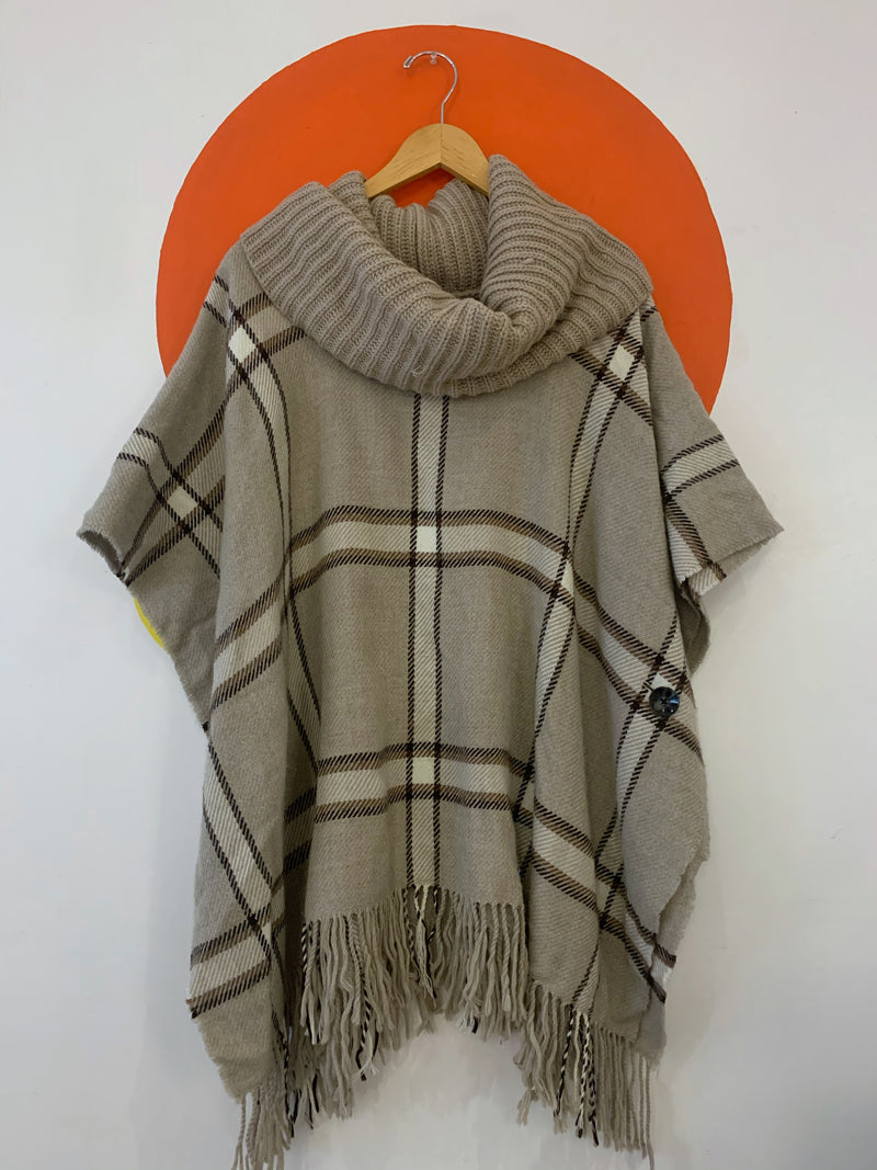 Button Poncho With Chunky Knit Collar