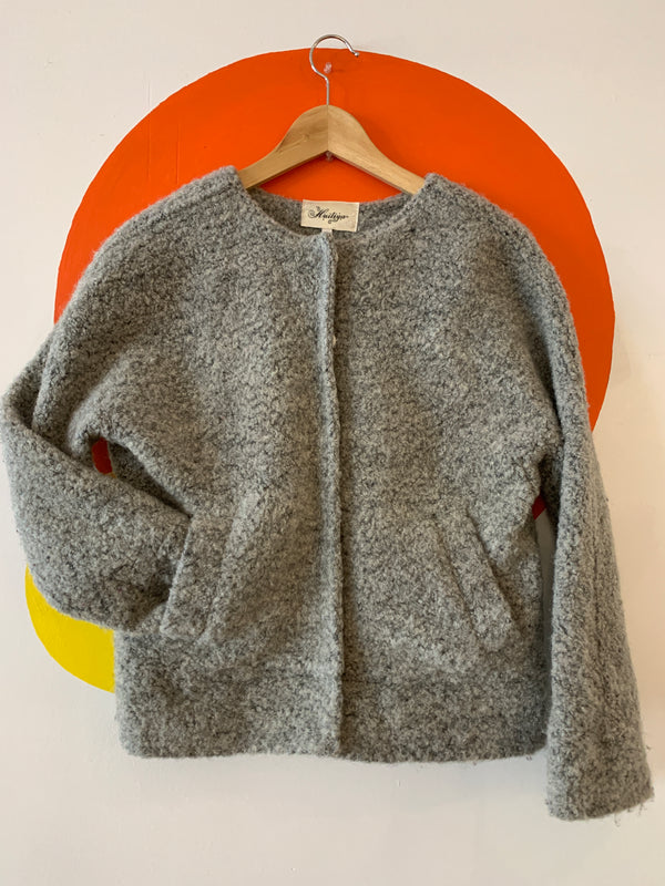Wooly Grey Snap Front Collarless Jacket