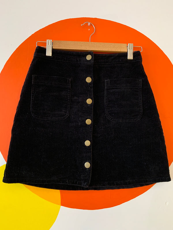 Corduroy Button Up Mini Skirt