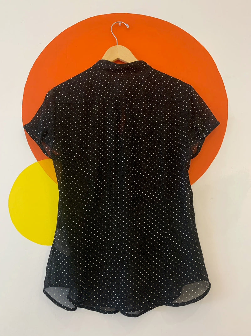Pleated Polka Dot Short Sleeve Blouse