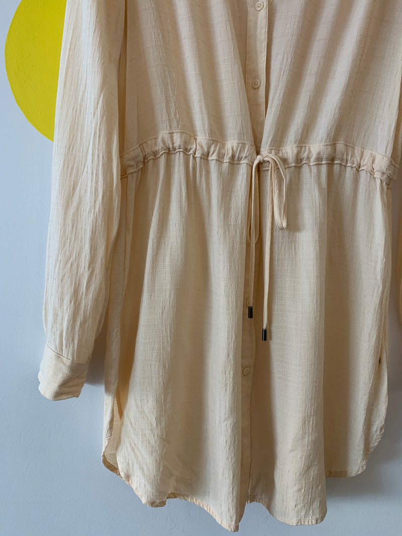 Sheer Cream Draw-Waist Shirt Dress