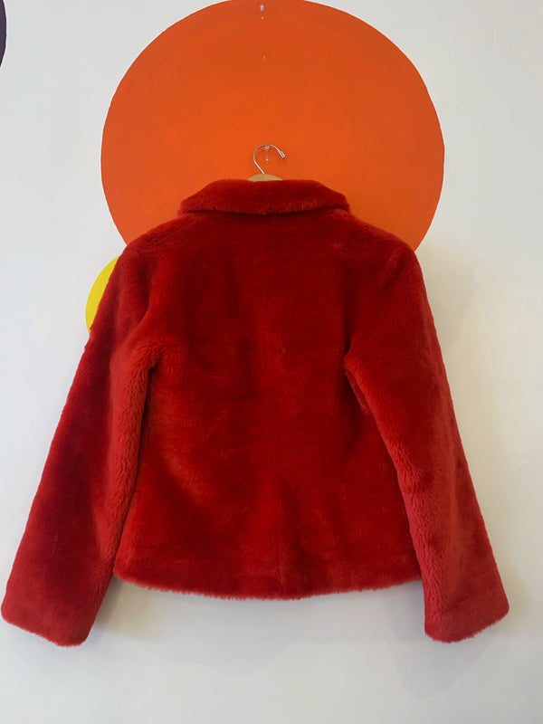 Guess Red Faux Fur Jacket