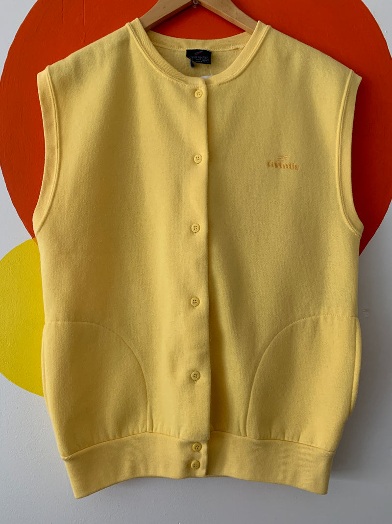 "Vintage Yellow Button Up ""Sweater"" Vest"