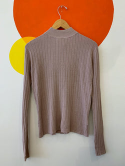 Lilac Ribbed Mock Neck