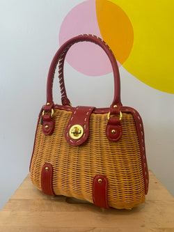 Red Leather & Wicker Bag