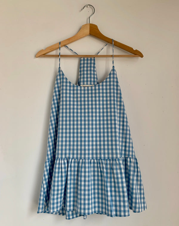 Blue Gingham Strappy Top