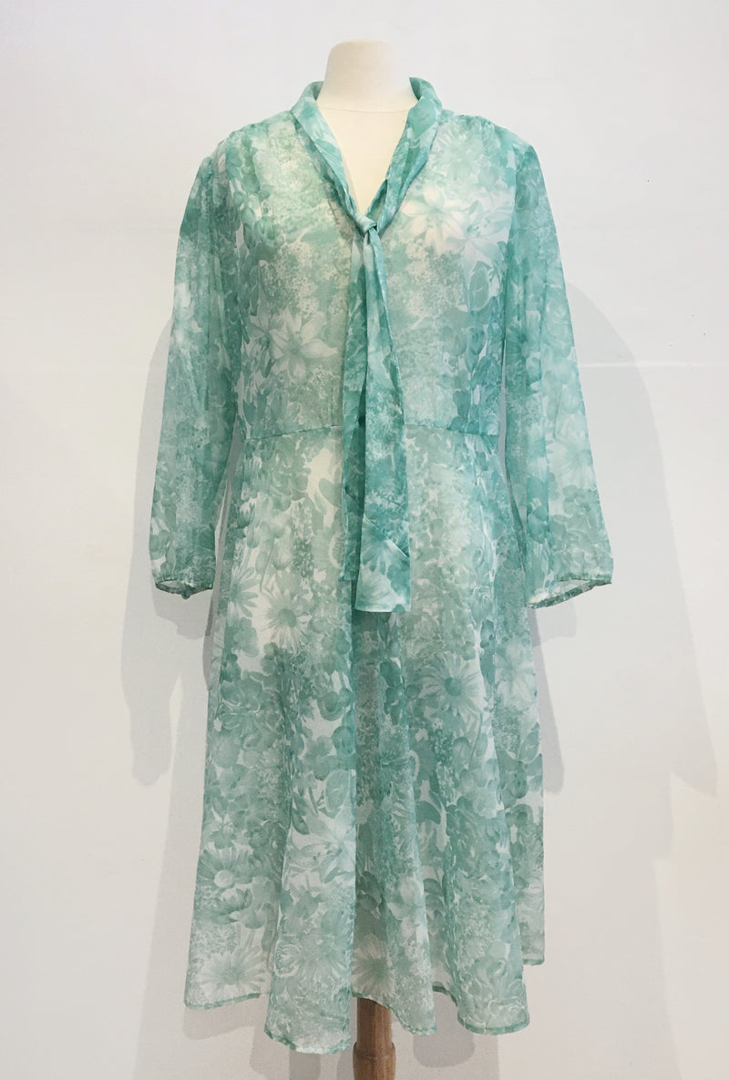 Sheer vintage teal dress