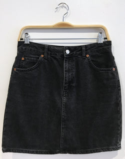 washed black denim skirt