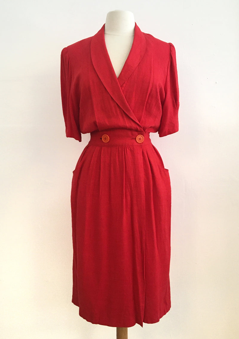 Vintage red wrap dress