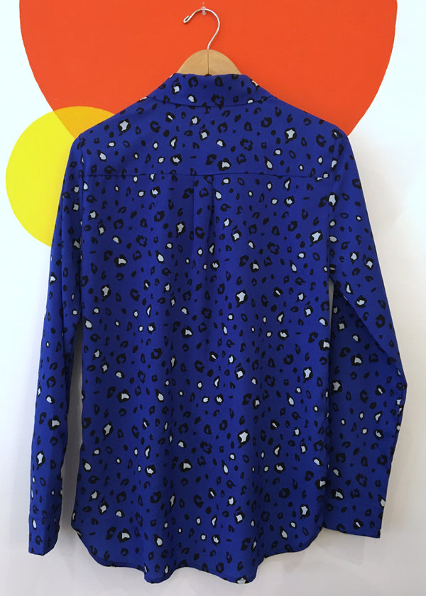Blue cheetah blouse