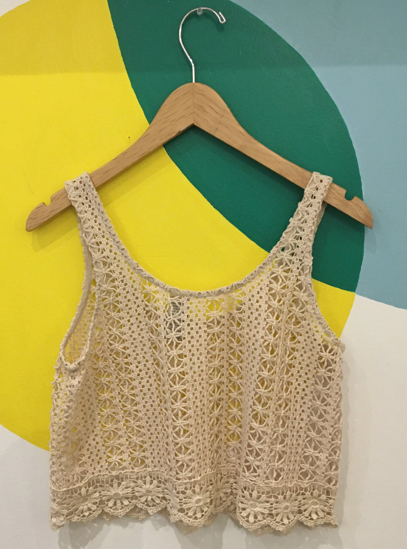 Cream crocheted tank top