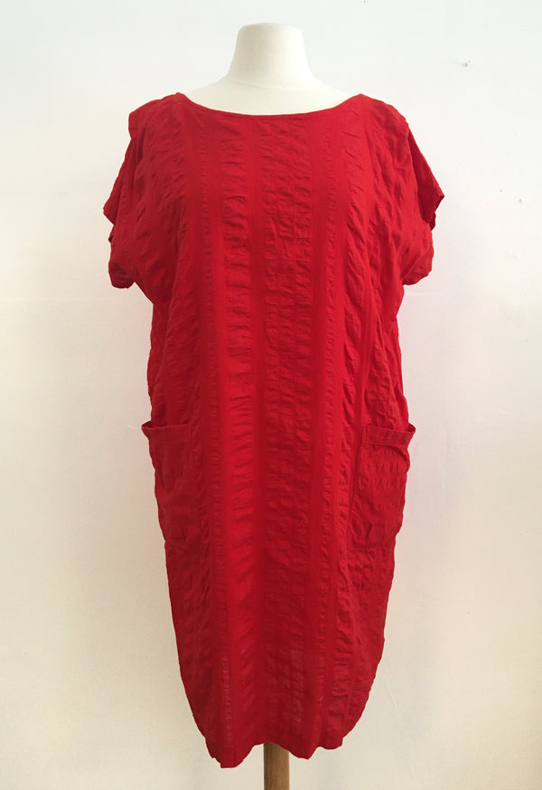 Textured Red cotton pocket dress
