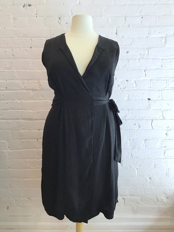 Sleeveless Black Wrap Dress