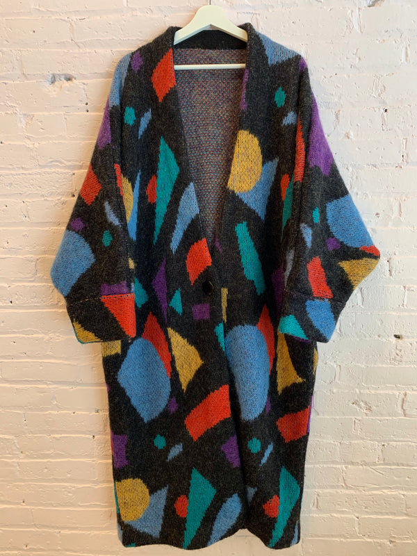 Vintage Rainbow Shapes Sweater Jacket