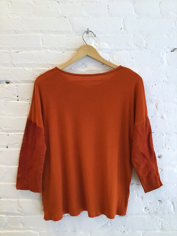 Scoop Neck Top With Suede Sleeves