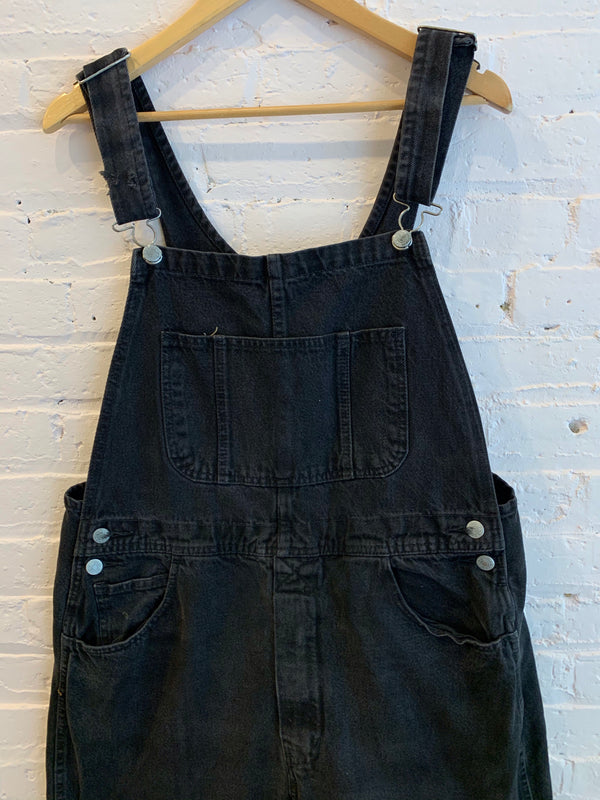 Vintage Black Denim Overalls