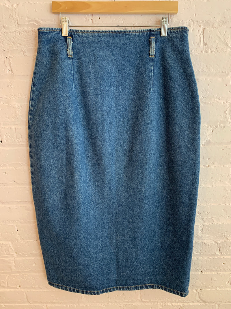 Vintage Studded Denim Maxi Skirt