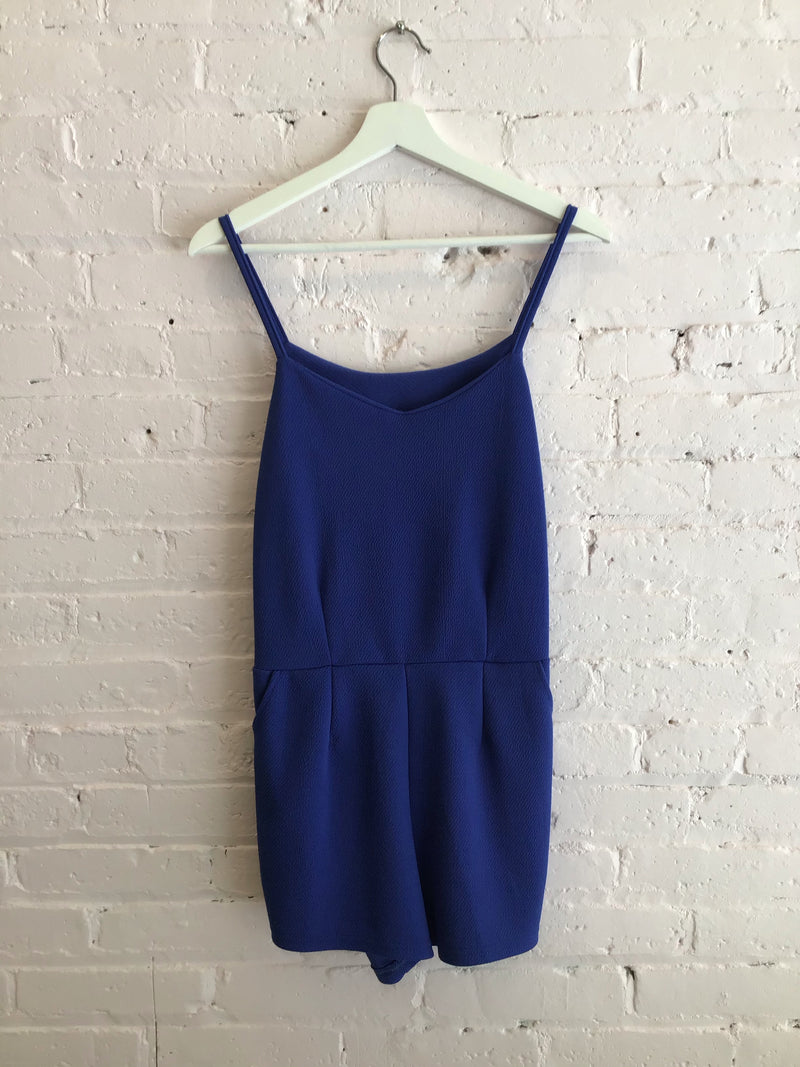 Textured Royal Blue Romper