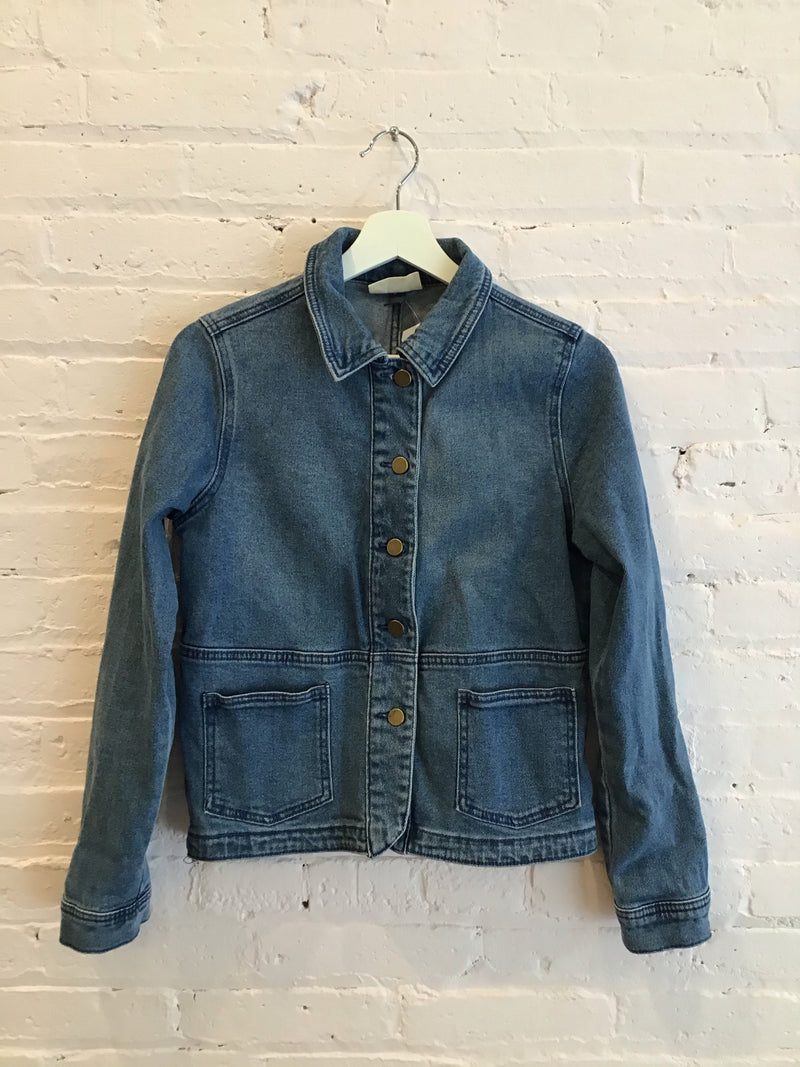 Long Sleeved Button-Front Denim Jacket