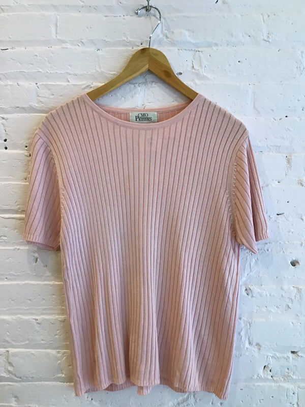 Salmon Pink Ribbed Short Sleeve Shirt