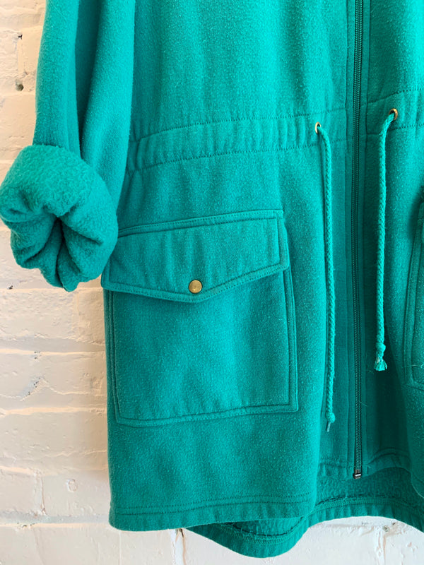 Vintage Fleece Zip Front Jacket with Hood