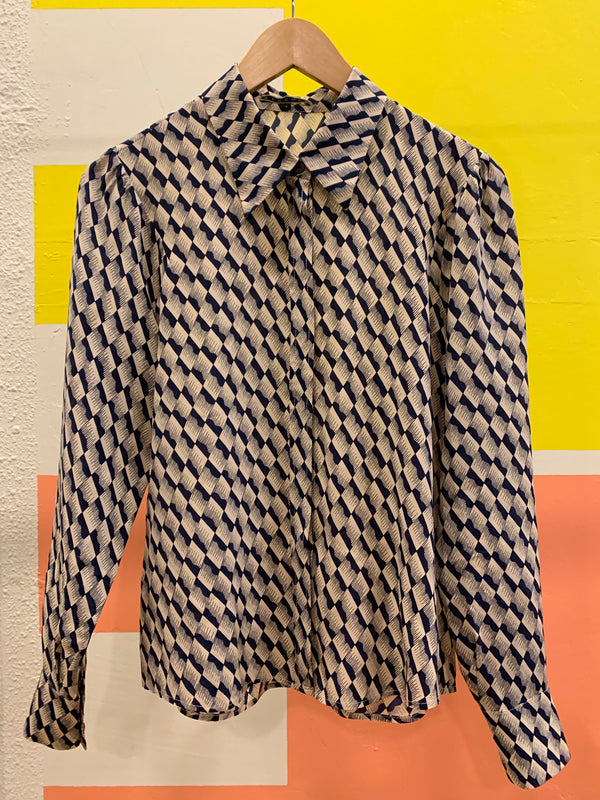 Silk Graphic Print Blouse