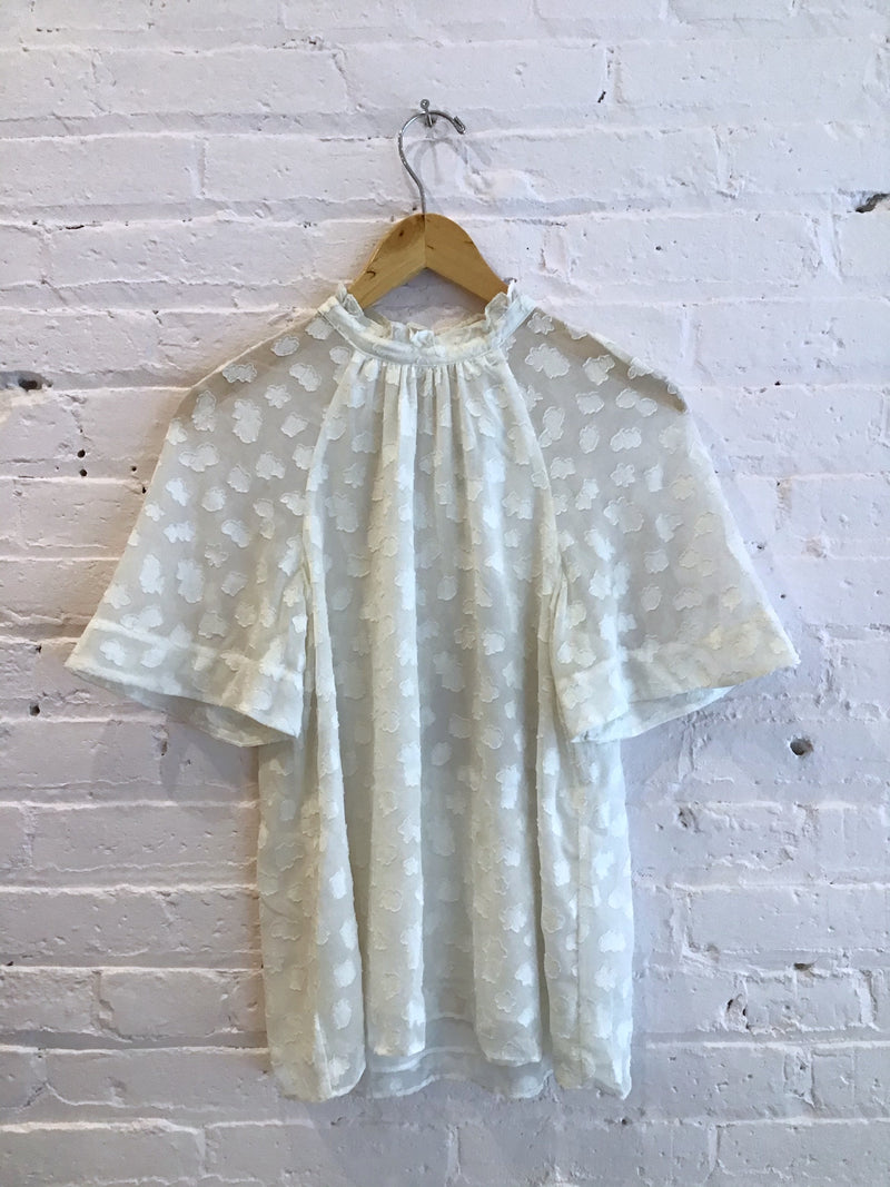 Short Sleeve Sheer Overlay Blouse