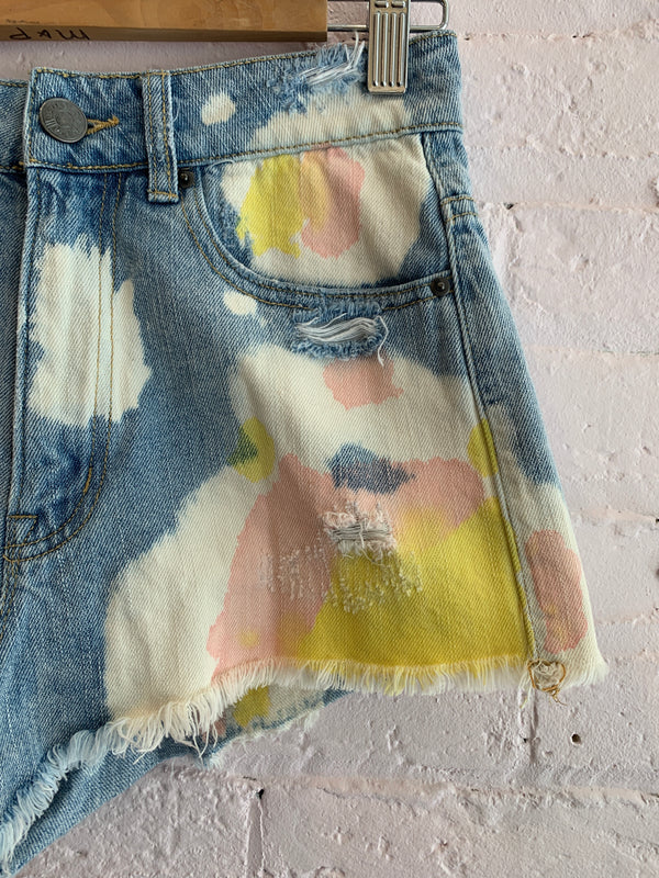 Bleached & Pastel Denim Shorts