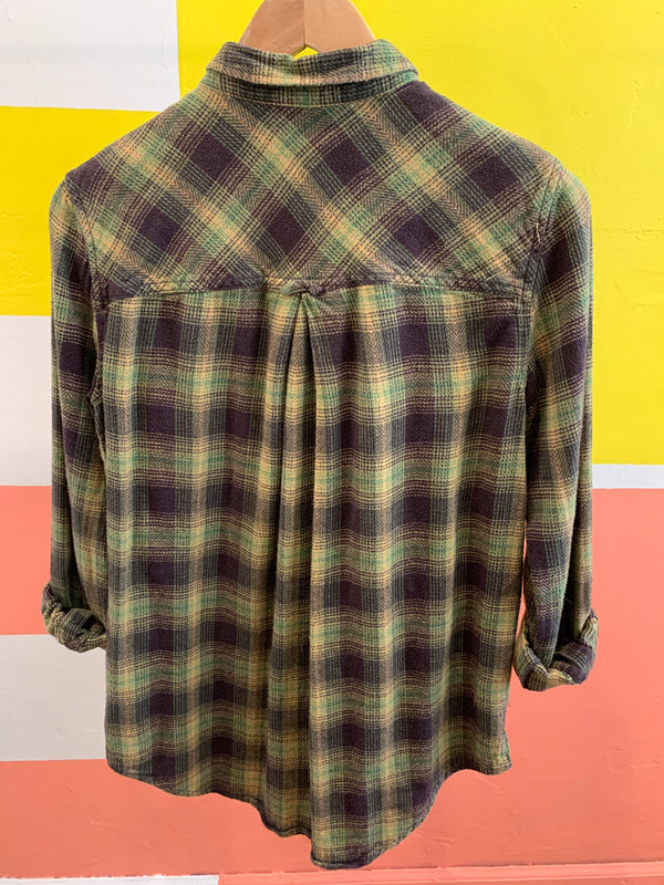 Avocado Tone Plaid Button Down - BDG