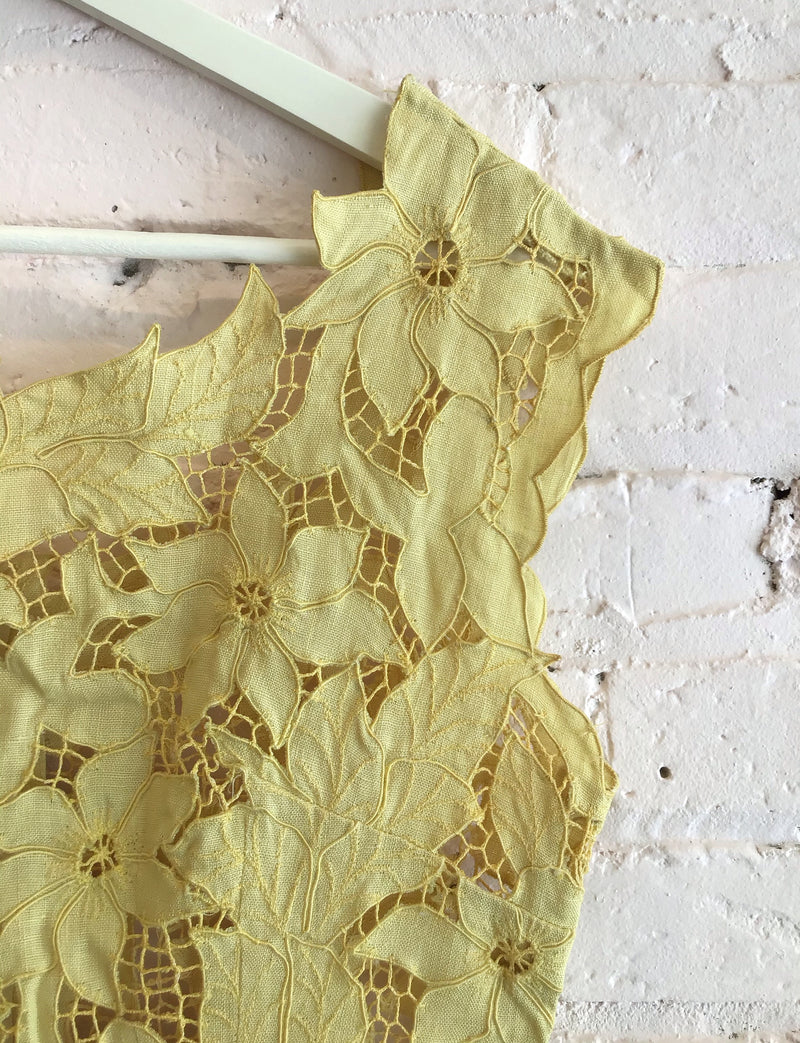HANDMADE YELLOW LACE SHIFT DRESS