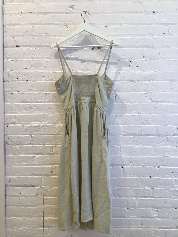 Spaghetti-Strap Linen Dress