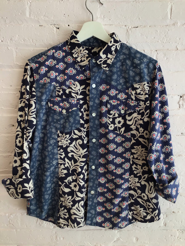 Bold Blue Patterned Button Up