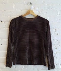 Velour striped long sleeve pullover