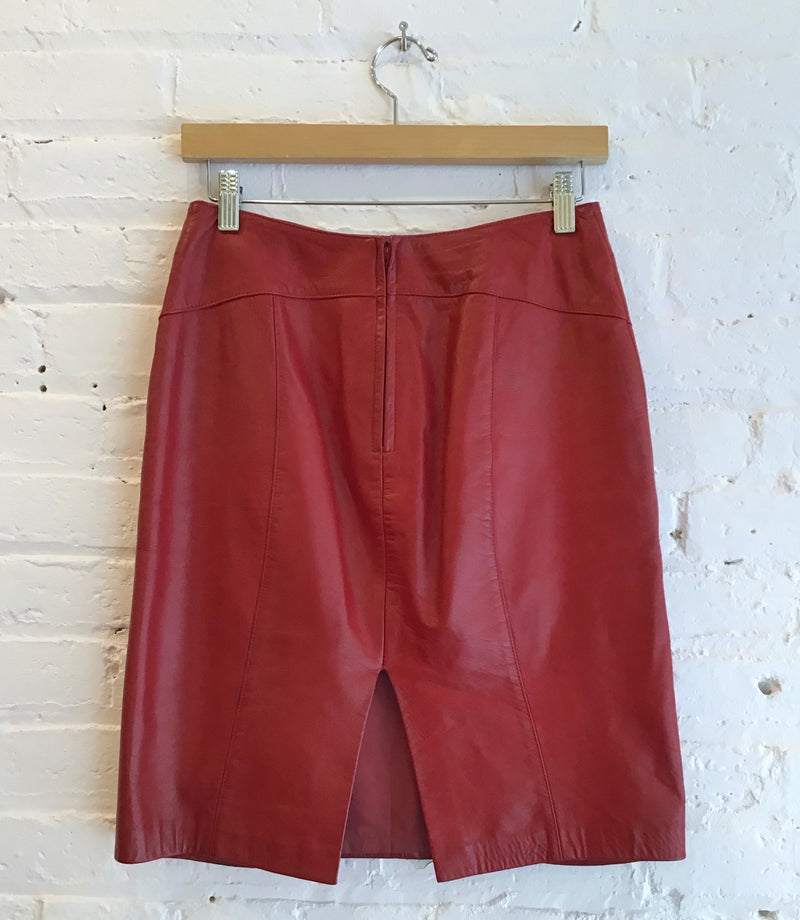 Leather cherry red skirt