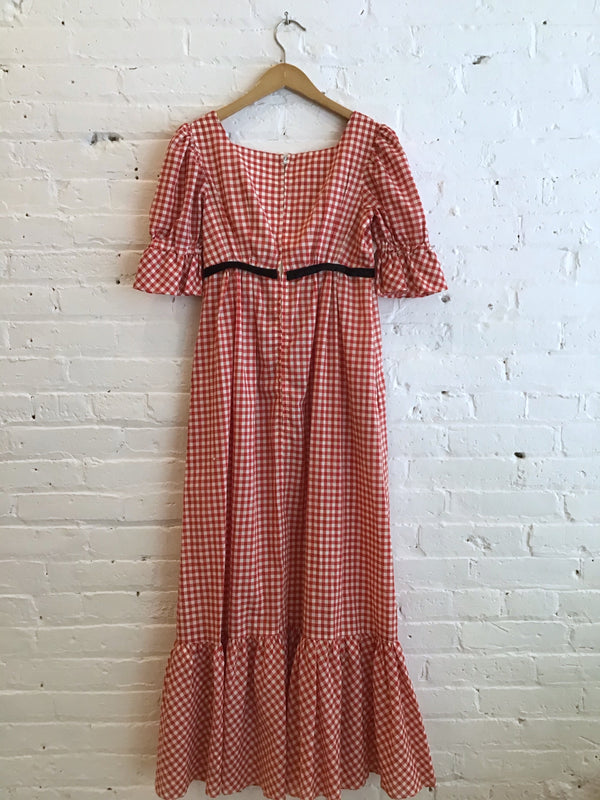 Vintage Gingham & Black Velvet Dress