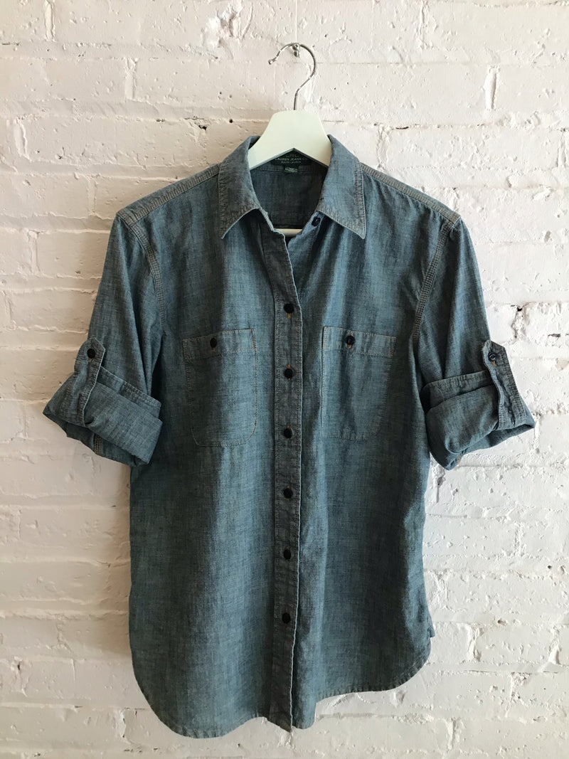 Ralph Lauren Chambray Roll Tab Button Up