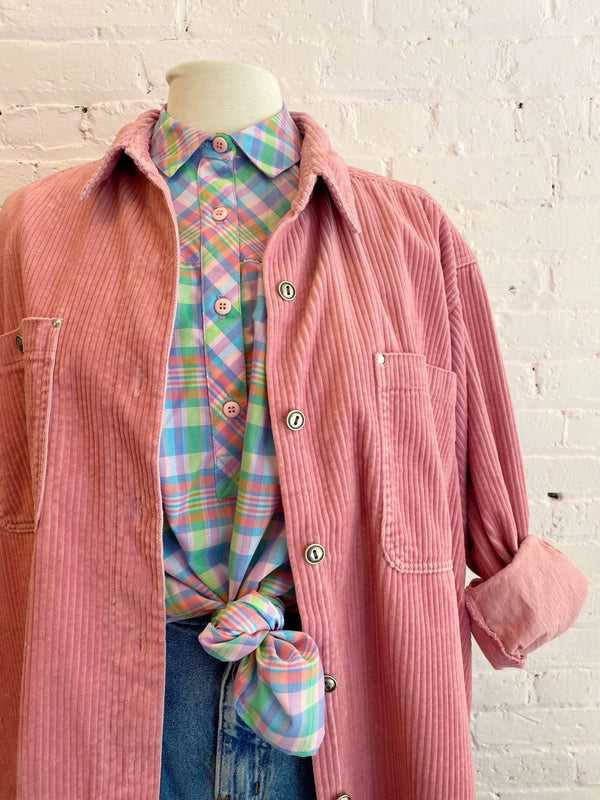 Pink Corduroy Button Down - 1X