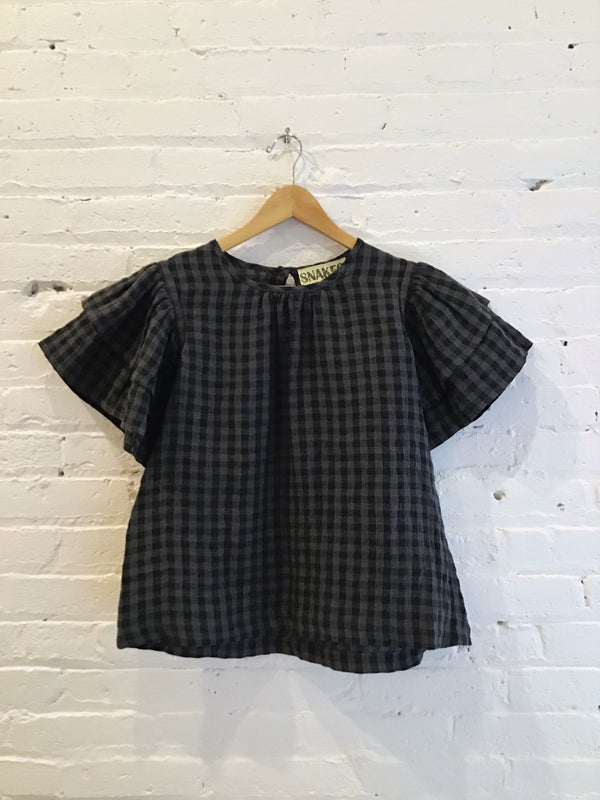 Greyscale Gingham Short Bell Sleeve Shirt
