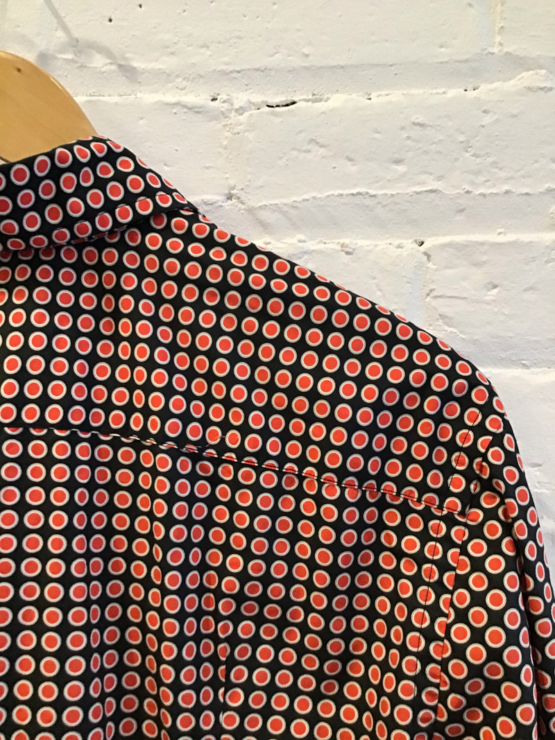 Red dot pattern button up shirt