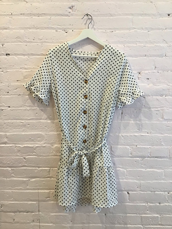 Vintage Short Sleeve Polka Dot Dress