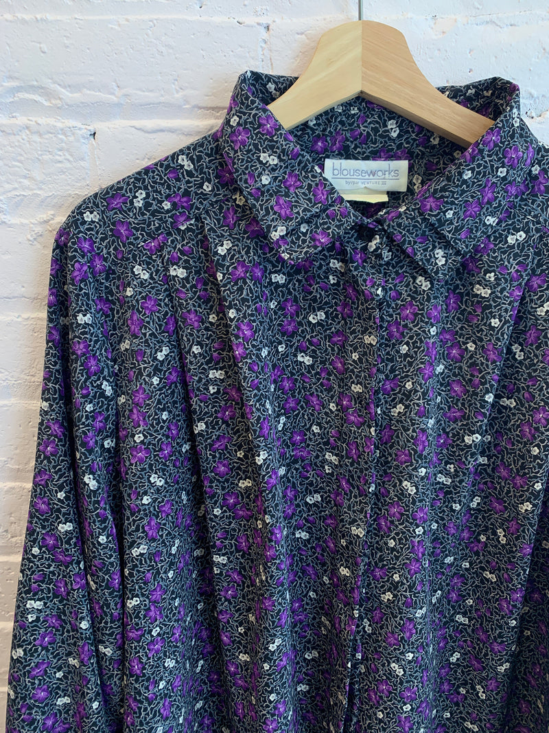 Purple Floral Button Up Blouse