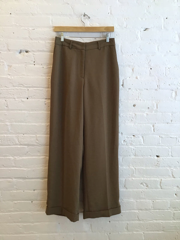 Wide Leg Cuffed Trousers