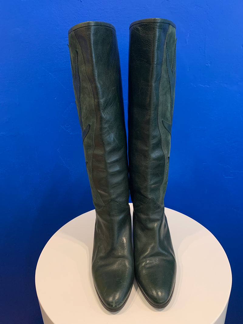 Vintage Green Italian Suede & Leather Boots