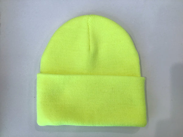 Rib Knit Toque- Highlighter Yellow