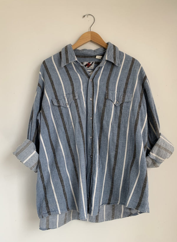 Blue Stripe Flannel Snap Shirt