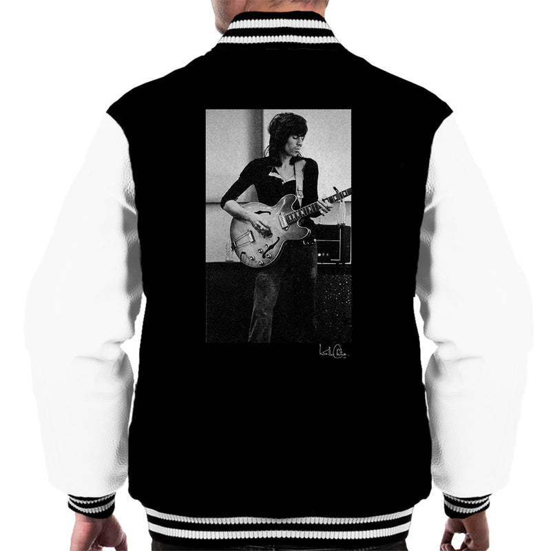 Rolling Stones Keith Richards Playing Guitar Men's Varsity Jacket - Don't Talk To Me About Heroes