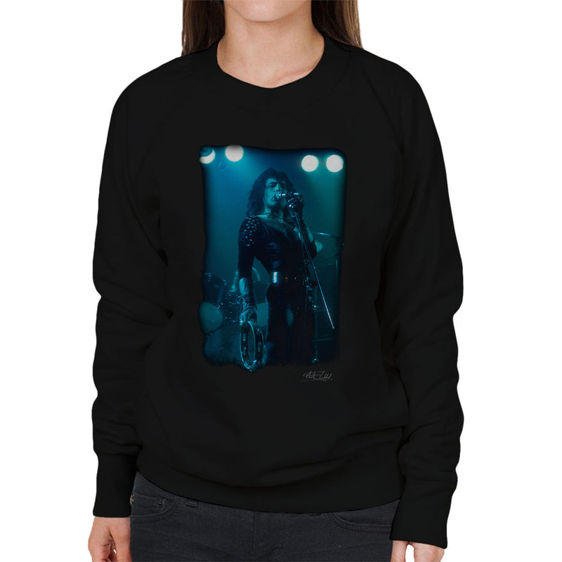 Freddie Mercury In Black Queen On Stage Women's Sweatshirt - Don't Talk To Me About Heroes