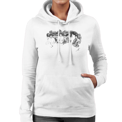 Pink Floyd Ruskin Park Shoot Floral 1967 Black And White Women's Hooded Sweatshirt