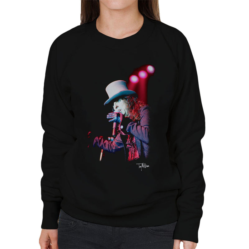 Alice Cooper Top Hat Performing Women's Sweatshirt - Don't Talk To Me About Heroes