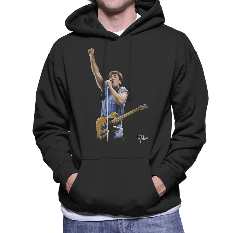 Bruce Springteeen Performing Fist Men's Hooded Sweatshirt - Don't Talk To Me About Heroes
